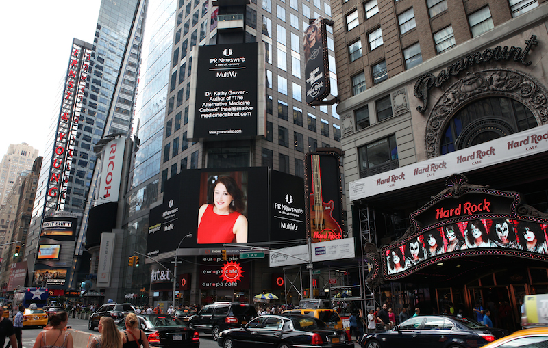 Dr. Gruver featuredin Times Square